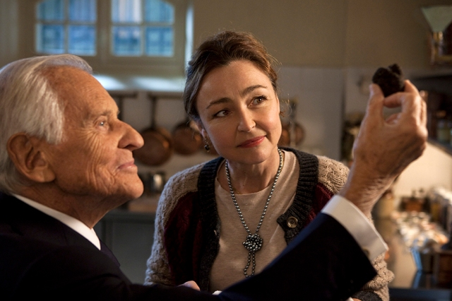 Jean d'Ormesson stars as the President and Catherine Frot stars as Hortense in Haute Cuisine, the latest movie about the bittersweet pleasures of French cooking. Via The Weinstein Company.