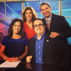 With Carina, Alex, and Matt on the set of NBC 24.